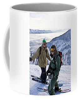 Young Couple Smile At Top Of Ski Run Coffee Mug