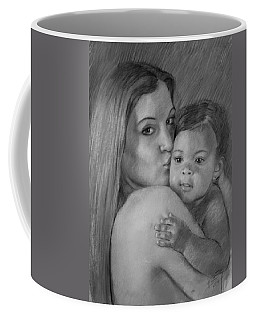 Coffee Mug featuring the drawing Young Mother With Her Baby by Viola El
