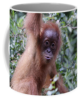Coffee Mug featuring the pyrography Young Orangutan Kiss by Shoal Hollingsworth