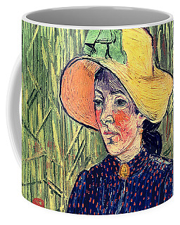 Young Peasant Girl In A Straw Hat Sitting In Front Of A Wheatfield Coffee Mug