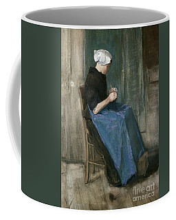 Young Scheveningen Woman Knitting Facing Right Coffee Mug