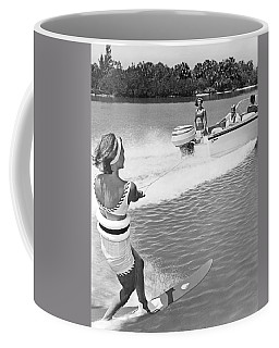 Young Woman Slalom Water Skis Coffee Mug