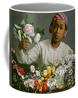 Young Woman With Peonies Coffee Mug