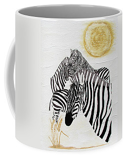 Coffee Mug featuring the painting Zebra Quintet by Stephanie Grant