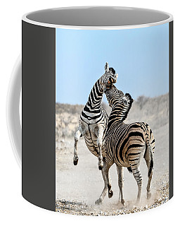 Zebra Stallions Fighting In Etosha Np Coffee Mug