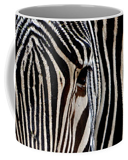 Coffee Mug featuring the photograph Zebras Face To Face by Nadalyn Larsen