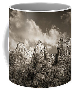 Coffee Mug featuring the photograph Zion Court Of The Patriarchs In Sepia by Tammy Wetzel
