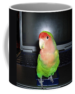 Coffee Mug featuring the photograph Zippy The Lovebird by Joan Reese