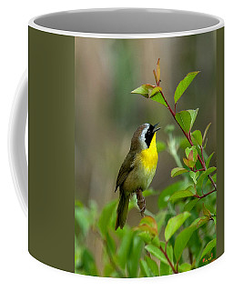 Coffee Mug featuring the photograph  Common Yellowthroat Warbler Warbling Dsb006 by Gerry Gantt