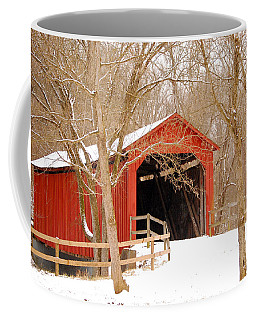 Coffee Mug featuring the photograph  Sandy Creek Cover Bridge  by Peggy Franz
