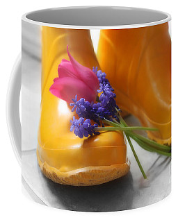 Spring Boots Coffee Mug by Cathy  Beharriell