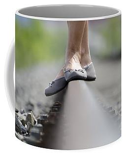 Balance On Railroad Tracks Coffee Mug