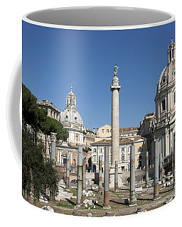 Imperial Fora With The Trajan's Column And The Church Santissimo Nome Di Maria.  Rome Coffee Mug