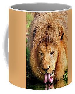 Lion Drinking Coffee Mug