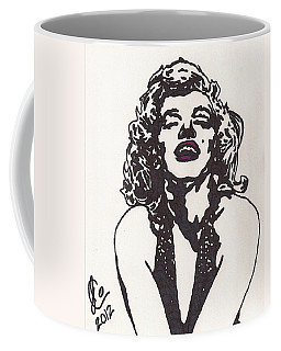 Coffee Mug featuring the drawing Marilyn Monroe by Jeremiah Colley