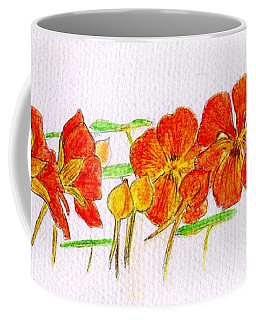 Coffee Mug featuring the drawing Nasturtiums by Barbara Moignard