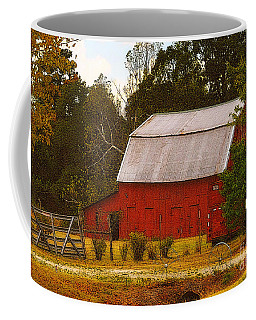 Coffee Mug featuring the photograph Ozark Red Barn by Lydia Holly