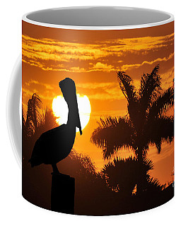 Coffee Mug featuring the photograph Pelican At Sunset by Dan Friend