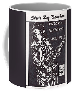 Coffee Mug featuring the drawing Stevie Ray Vaughn by Jeremiah Colley