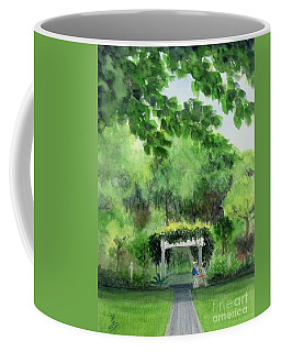 Coffee Mug featuring the painting the garden at the wellers carriage house in Saline  Michigan 1 by Yoshiko Mishina