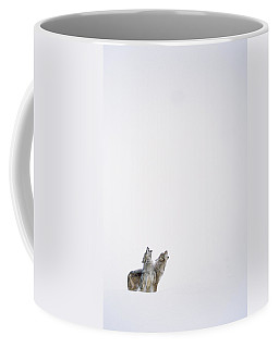 Timber Wolf Pair Howling In Snow North Coffee Mug