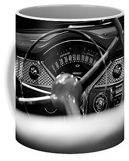 1955 Chevy Bel Air Dashboard In Black And White Coffee Mug