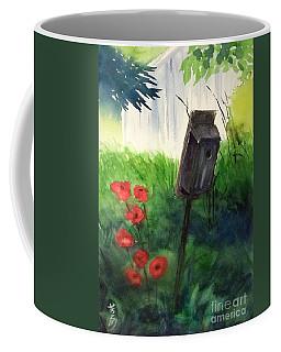Coffee Mug featuring the painting A Bird House In The Geddes Farm --ann Arbor Michigan by Yoshiko Mishina