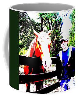 Coffee Mug featuring the photograph a Boy and his Horse by George Pedro