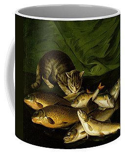 A Cat With Trout Perch And Carp On A Ledge Coffee Mug