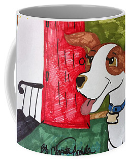 A Dog Is Heading Out The Door. Coffee Mug