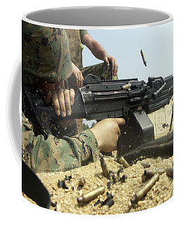 A Marine Engages Targets With An M-249 Coffee Mug