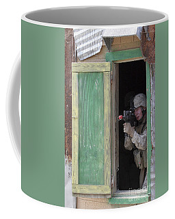 A Marine Posts Security Out Of A Window Coffee Mug
