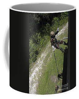 A Midshipman Rappels Down A Wall Coffee Mug