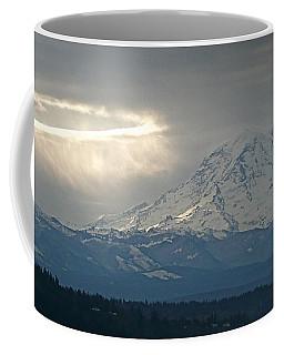 A Ring Of Bright Light Beside Mount Rainier Coffee Mug by Sean Griffin