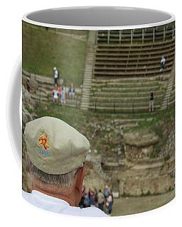 A Tourist And The Ancient Theater Of Taormina Coffee Mug
