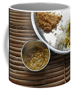 A Typical Plate Of Indian Rajasthani Food On A Bamboo Table Coffee Mug by Ashish Agarwal