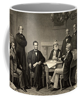 Coffee Mug featuring the photograph Abraham Lincoln At The First Reading Of The Emancipation Proclamation - July 22 1862 by International  Images