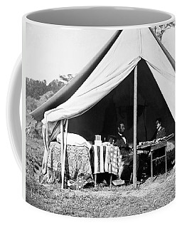 Coffee Mug featuring the photograph Abraham Lincoln Meeting With General Mcclellan - Antietam - October 3 1862 by International  Images