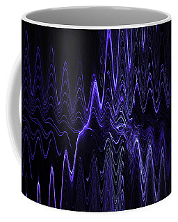 Abstract Digital Blue Waves Fractal Image Black Computer Art Coffee Mug