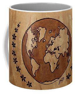Abstract World Globe Map Coffee Painting Coffee Mug