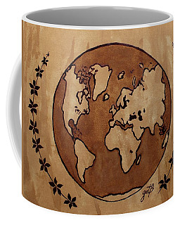 Abstract World Globe Map Coffee Painting Coffee Mug
