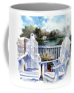 Coffee Mug featuring the painting Adirondack Chairs Too by Andrew King