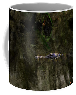 Coffee Mug featuring the photograph Alligator In Swamp by Dan Friend