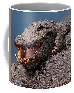 Coffee Mug featuring the photograph Alligator Smile by Art Whitton