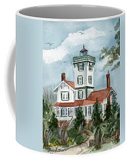 Coffee Mug featuring the painting Almost Spring At Hereford Inlet Light  by Nancy Patterson