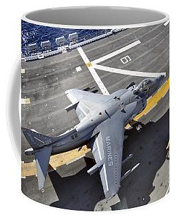 An Av-8b Harrier  Prepares To Takeoff Coffee Mug
