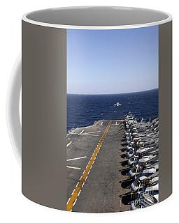 An Av-8b Takes Off From The Flight Deck Coffee Mug