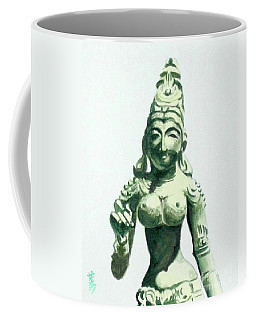 Coffee Mug featuring the painting An Oriental Statue At The Toledo Museum Of Art-4 by Yoshiko Mishina