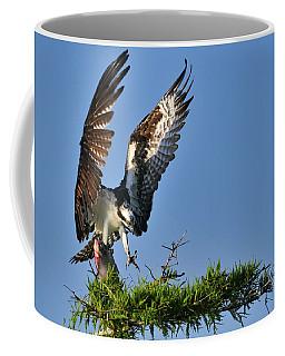 An Osprey Flying In With Breakfast Coffee Mug