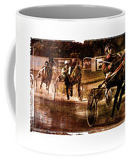 Coffee Mug featuring the photograph and the winner is - A vintage processed Menorca trotting race by Pedro Cardona